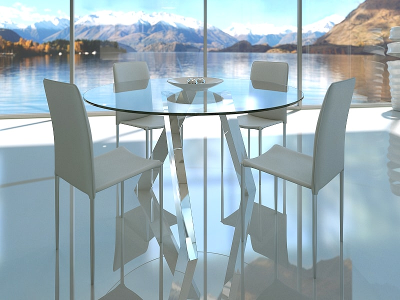 Adam Round Glass Modern Dining Table