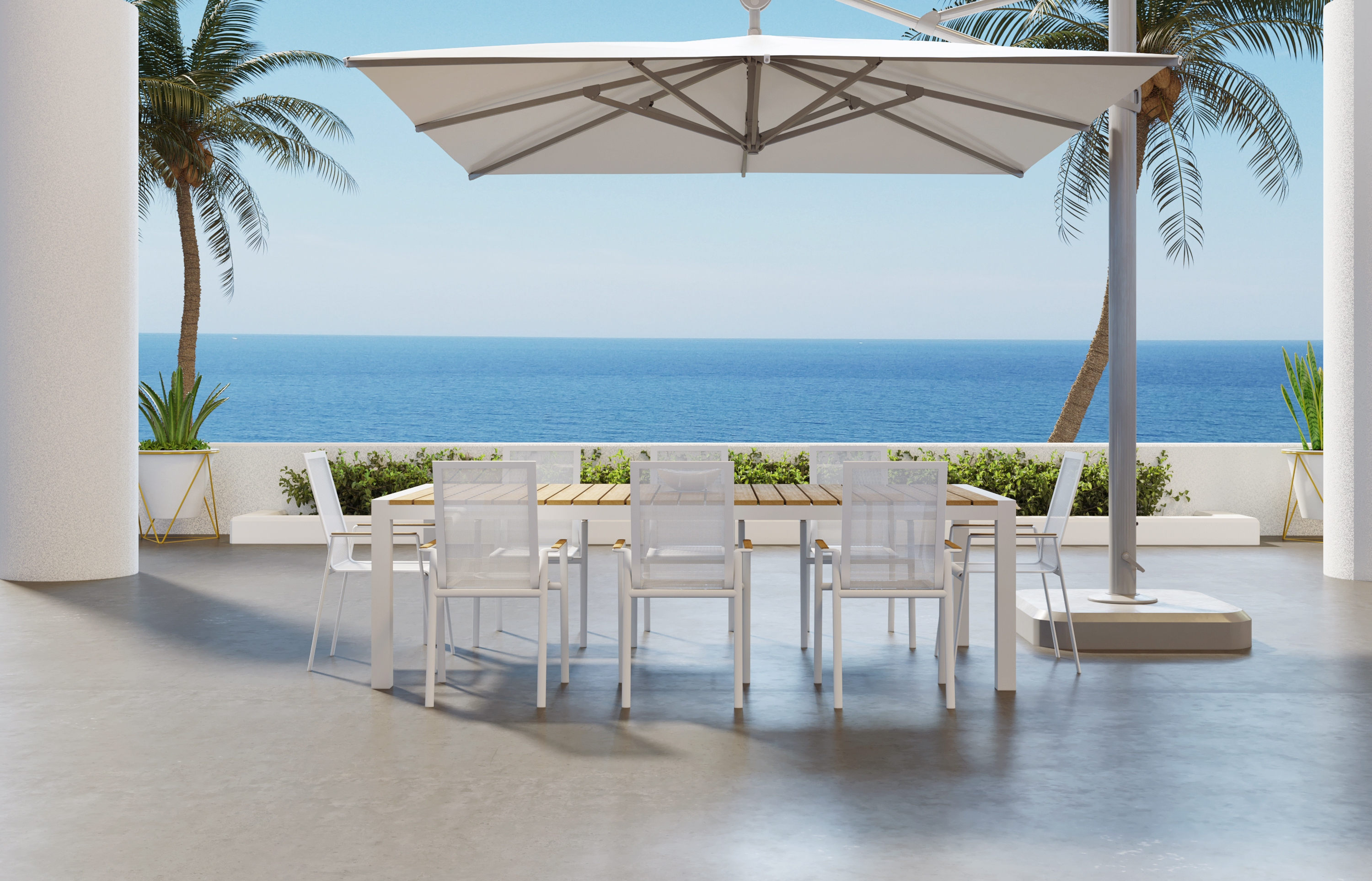 Aviana Outdoor Modern Dining Set (Table + 6 Chairs)