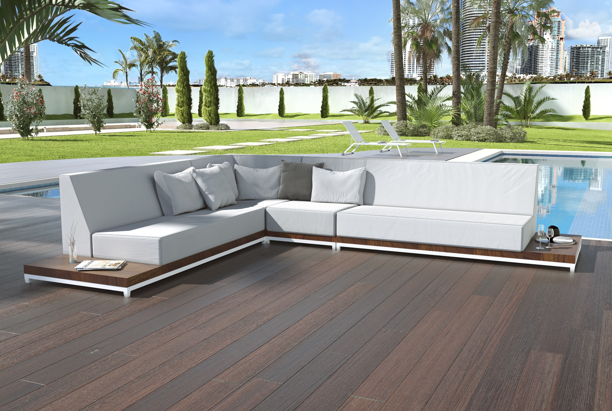 Lavish callisto outdoor modern sofa with built in side tables for Sofas exterior polietileno