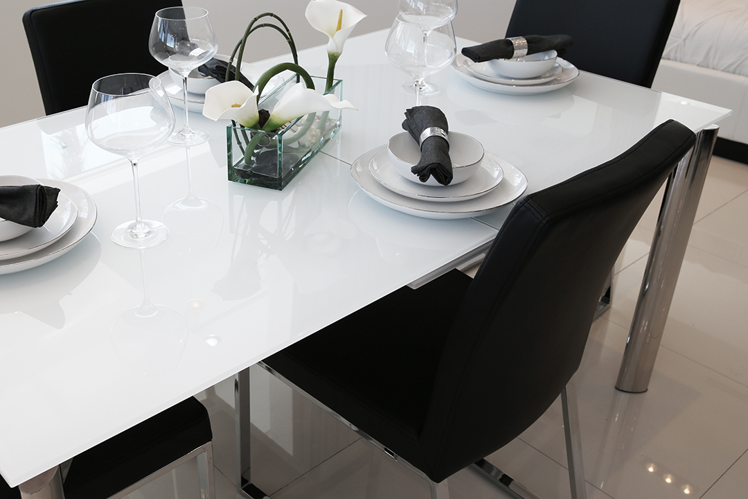 Cameron Glass Extendable Modern Dining Table White
