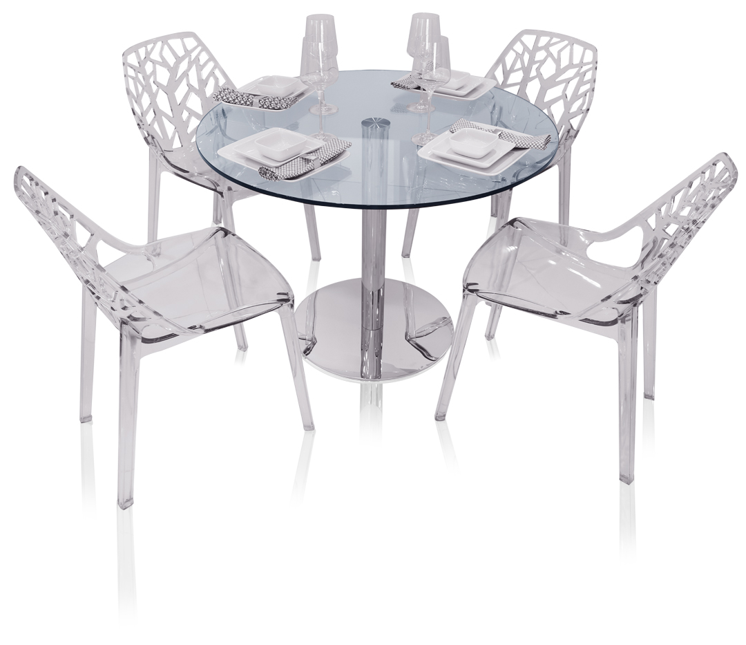 Eve Round Glass Modern Dining Table