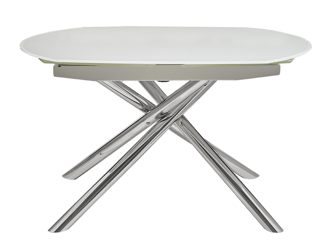 Astro modern dining table white with crisscross metal legs - White metal dining table ...
