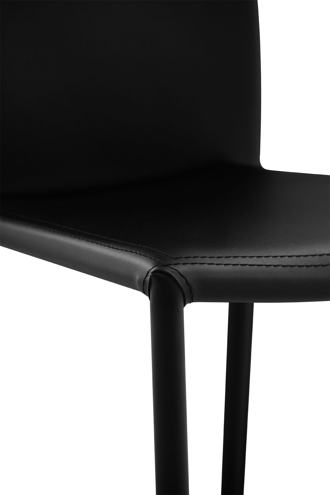 Bellagio Modern Dining Chair in Black Sumptuous Leather