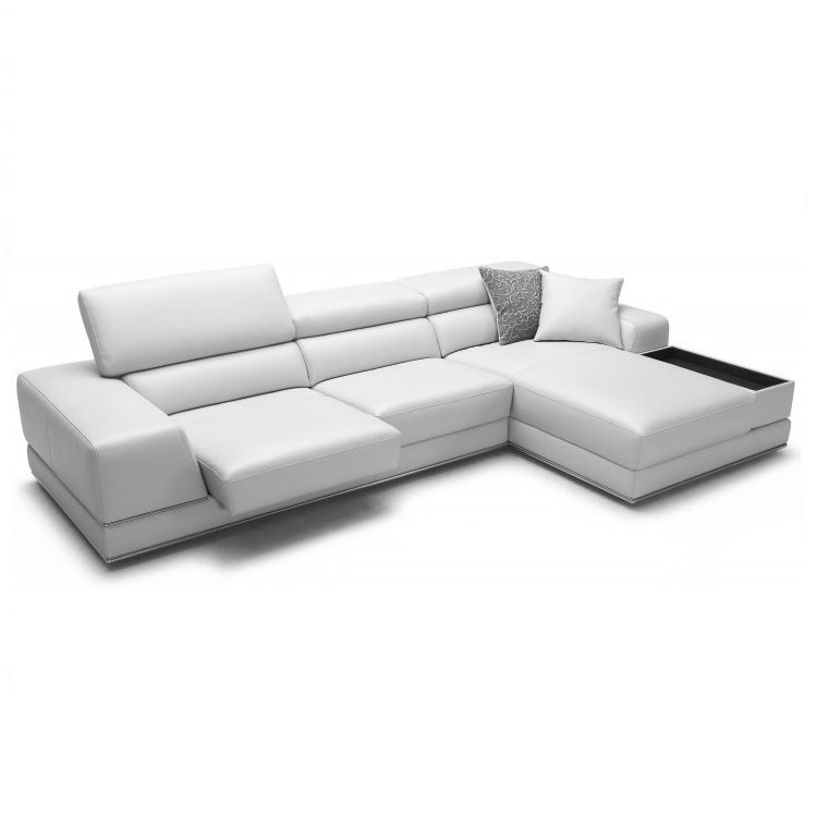 Bergamo Sectional Leather Modern Sofa Gray