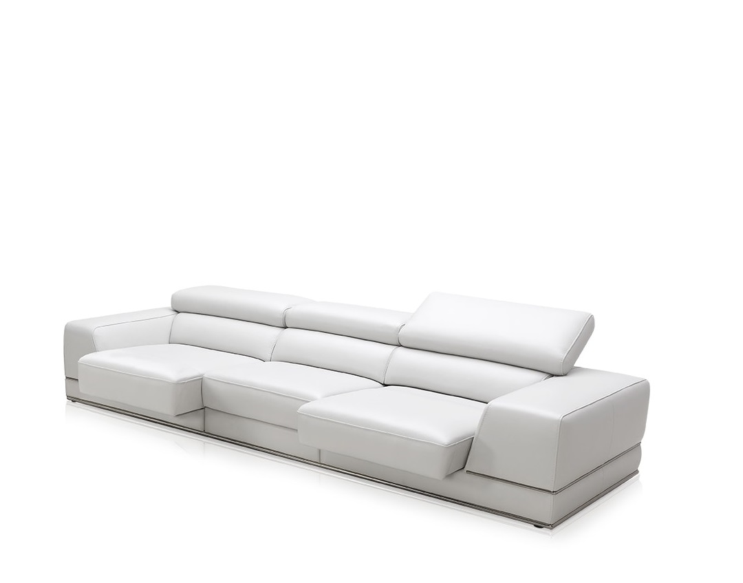 Bergamo 3 Seater White Modern Sofa With Reclining Headrest And Seat ~ Modern Sofa White Leather
