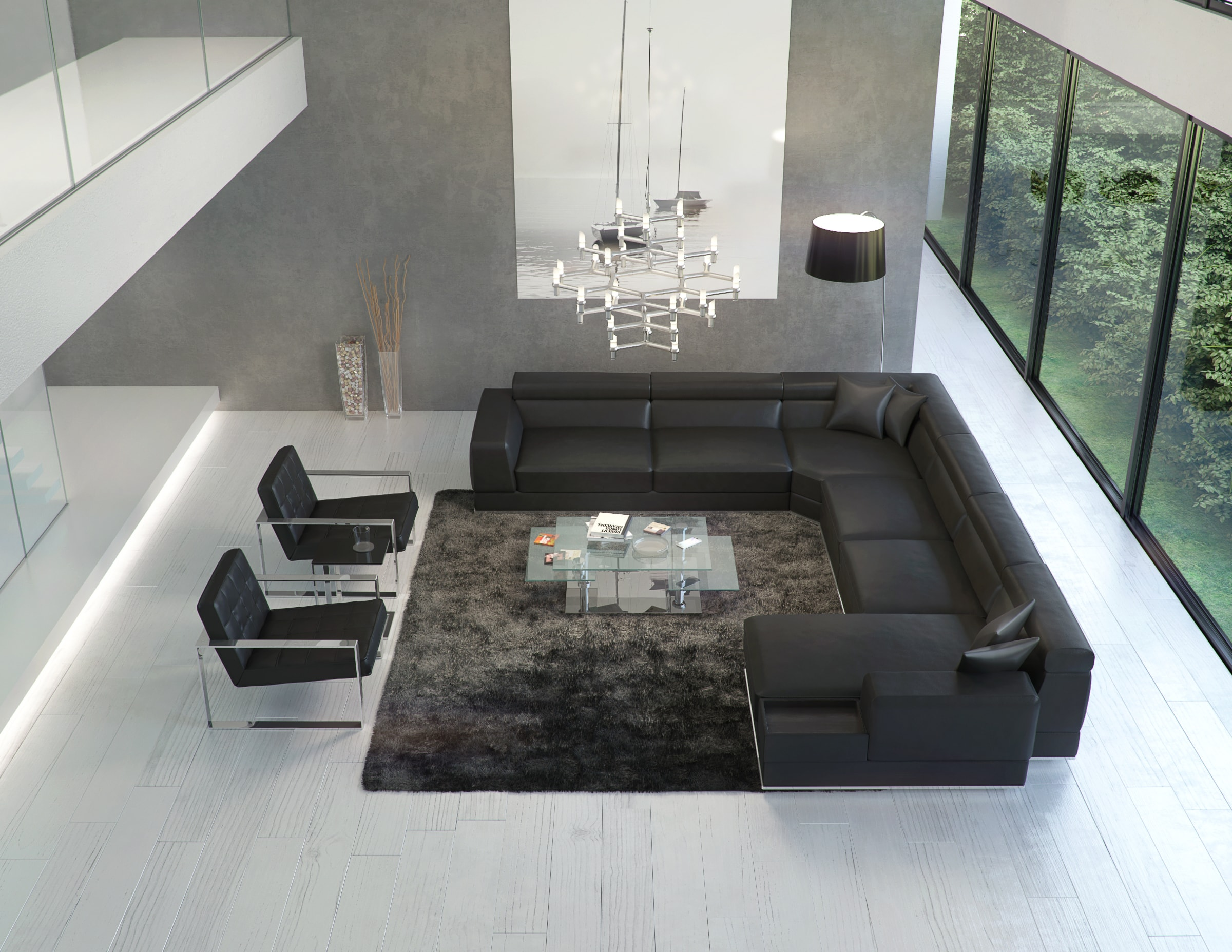 Meet the Sophisticated Bergamo Sectional Black Leather Sofa