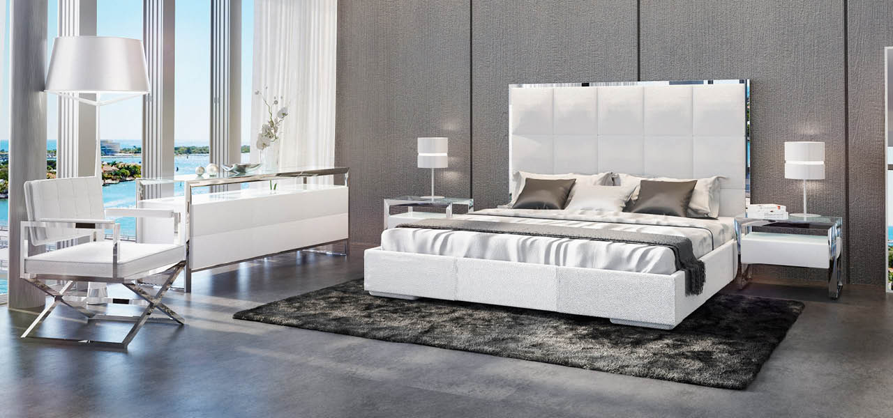 Giorgio Contemporary Bed White