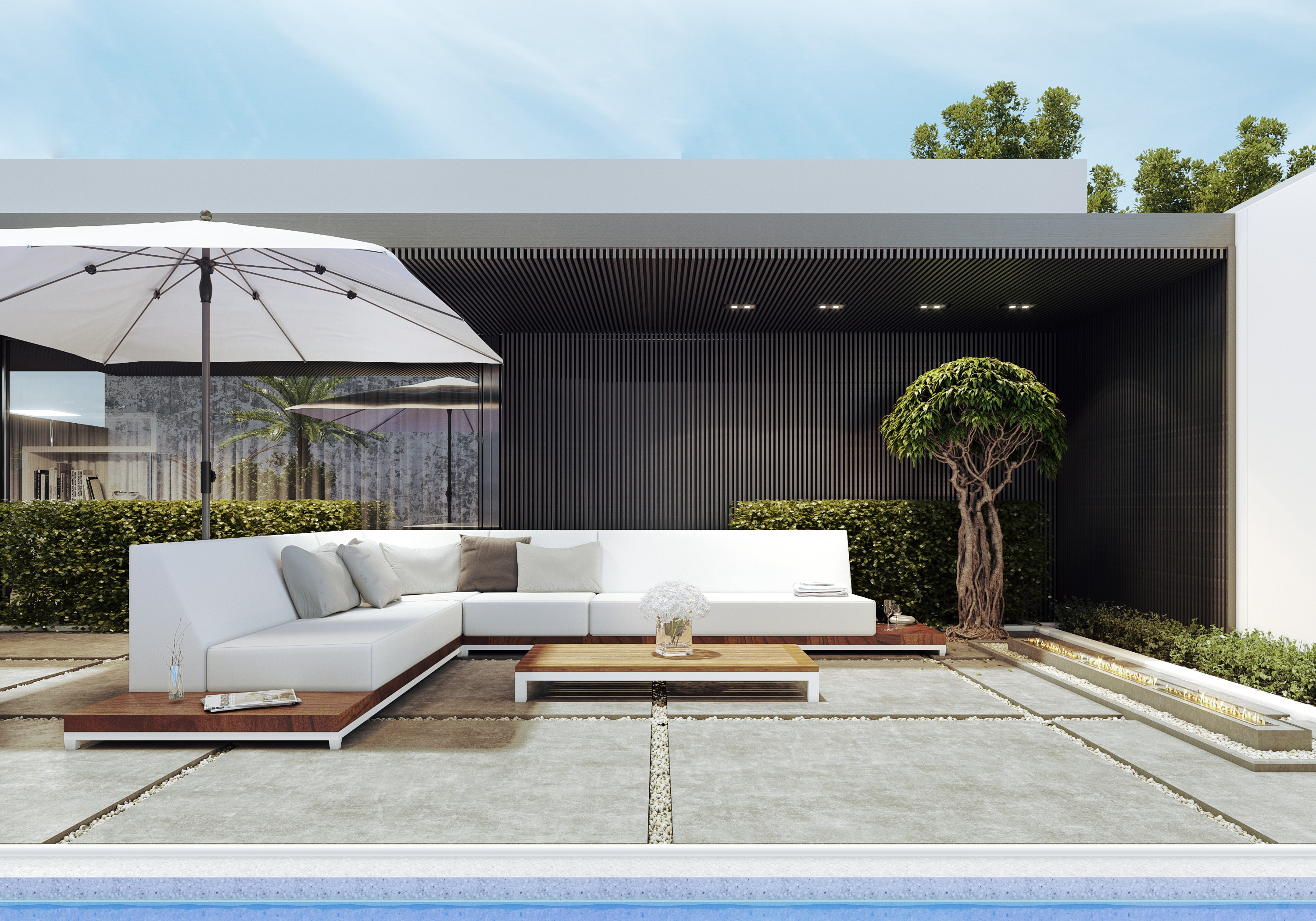 Lavish Callisto Outdoor Modern Sofa With Built In Side Tables