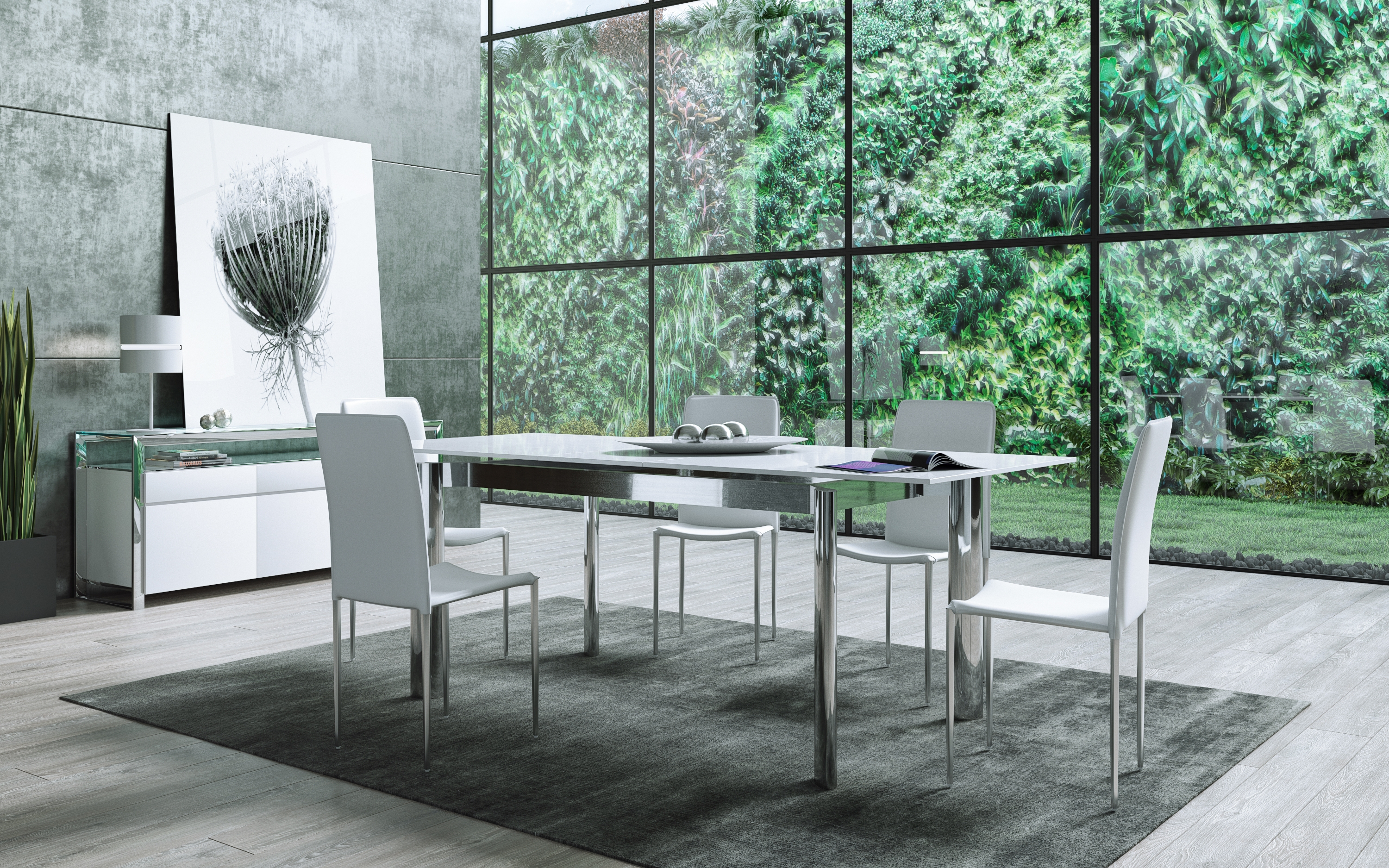 Sleek And Spacious Cameron Glass Extendable Dining Table