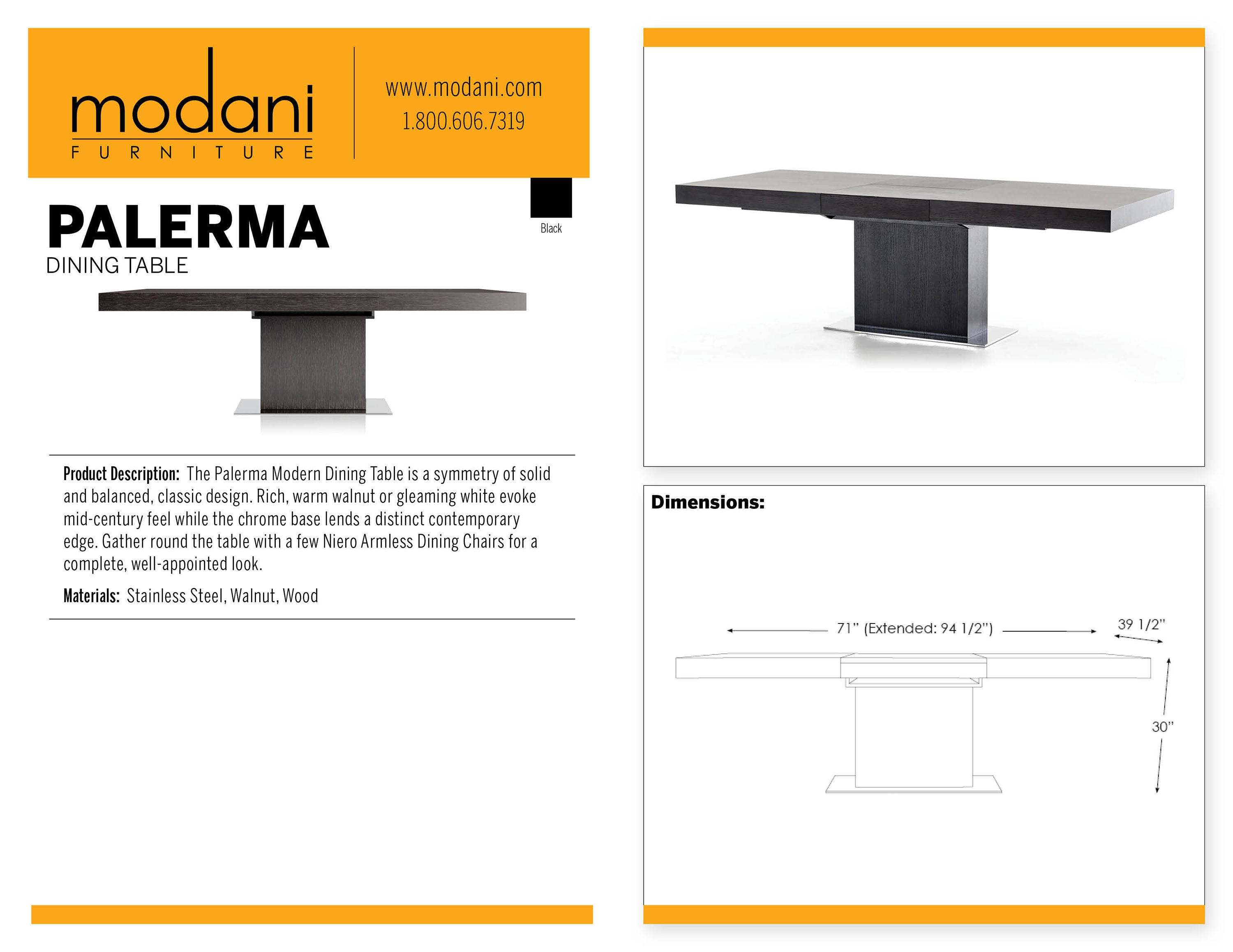 Shop The Beautiful Palerma Modern Dining Table in Black Oak : palermadiningtableblacktag2017 from www.modani.com size 3000 x 2318 jpeg 885kB