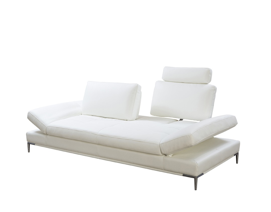 White Sullivan Premium Sofa With Reclining Headrests