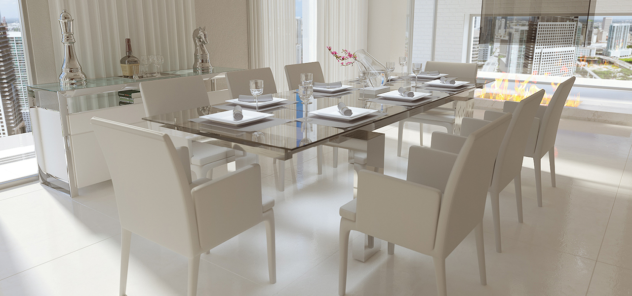 Nabu Glass Extendable Modern Dining Table Clear