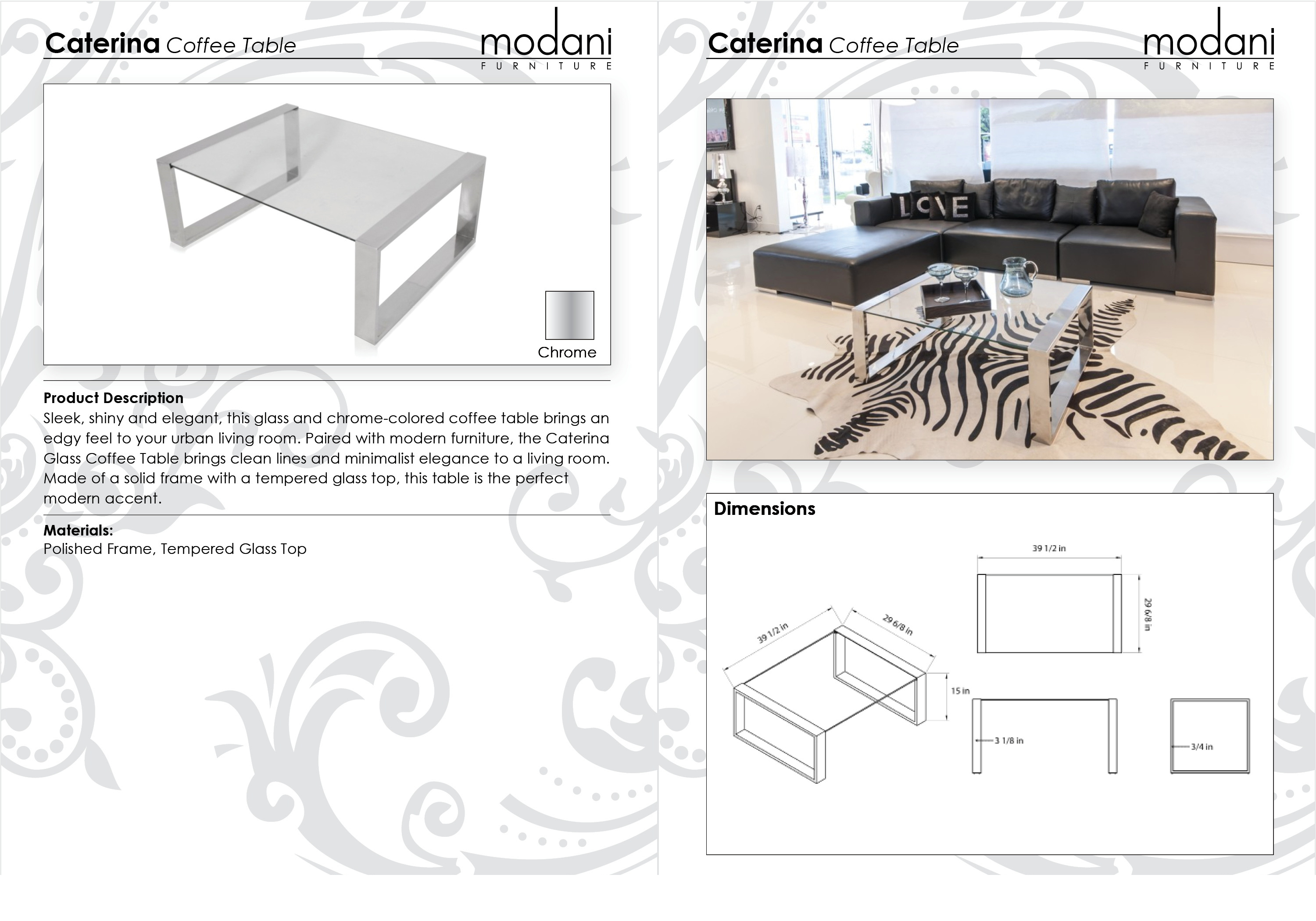 Modern Style Caterina Glass Coffee Table Available Now