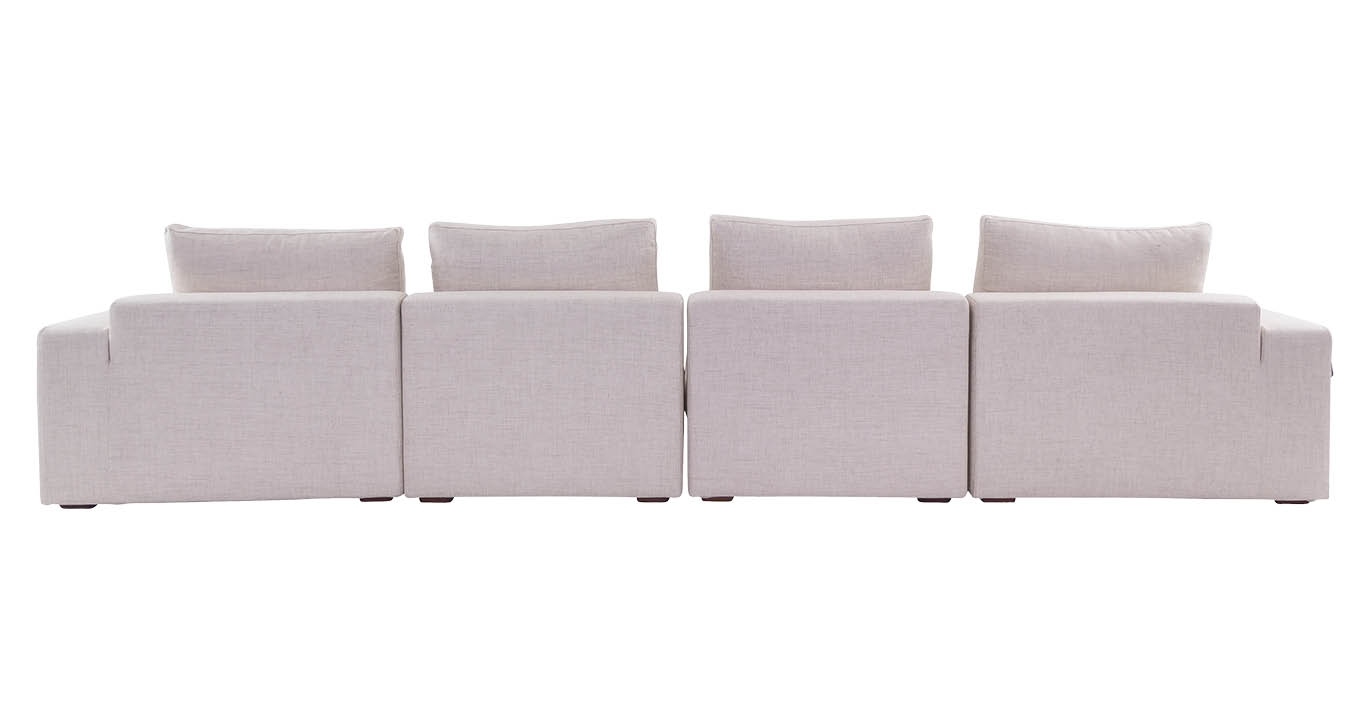 Wilson 4 Seater Fabric Modern Sofa Cream